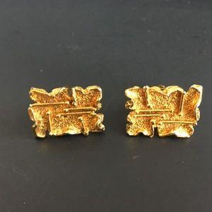 Robert Larin Vintage Brutalist Gold Gilt Cufflinks